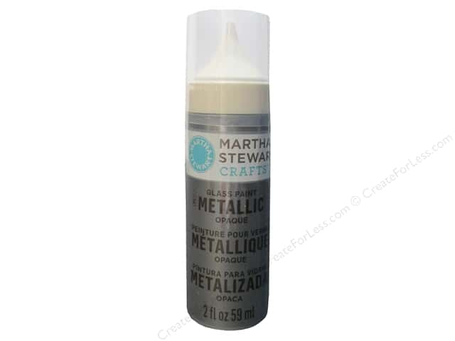 Martha Stewart Glass Paint by Plaid 2 oz. Opaque Metallic Pure Platinum
