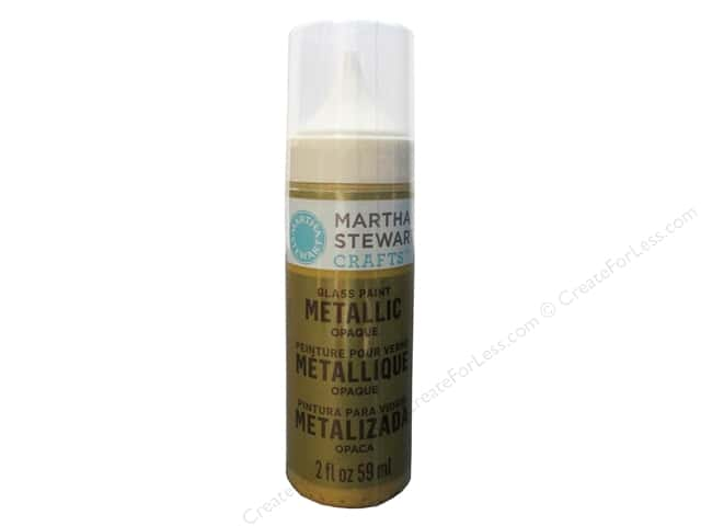 Martha Stewart Glass Paint by Plaid Opaque Metallic Yellow Gold 2oz