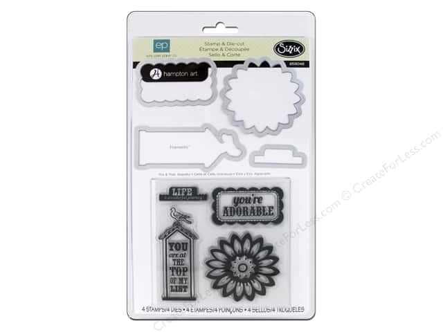 Sizzix Framelits Die Set with Stamps This & That Graceful by Echo Park