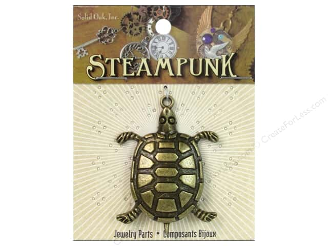 Solid Oak Pendant Steampunk Sea Turtle Large Antique Gold