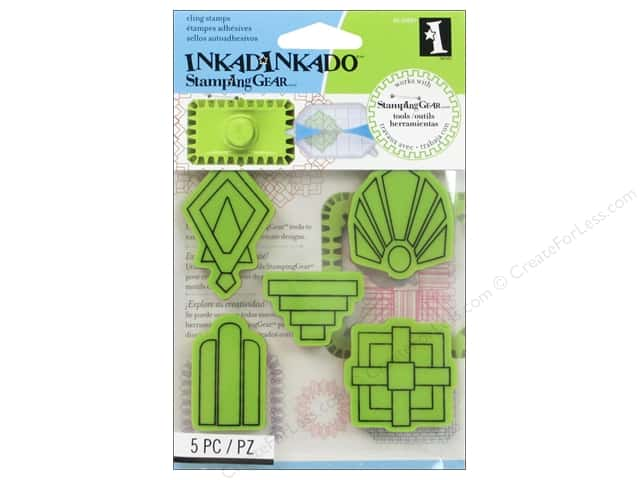 Inkadinkado InkadinkaClings Stamping Gear Rubber Stamp Art Deco Shapes