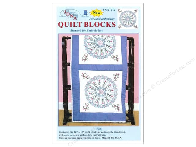 "Jack Dempsey Quilt Block 18"" 6pc White Fan"