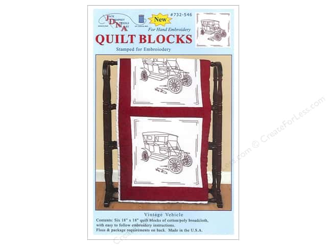 "Jack Dempsey Quilt Block 18"" 6pc White Vintage Vehicle"