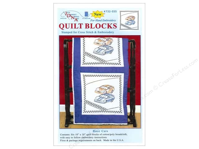 "Jack Dempsey Quilt Block 18"" 6pc White Race Cars"