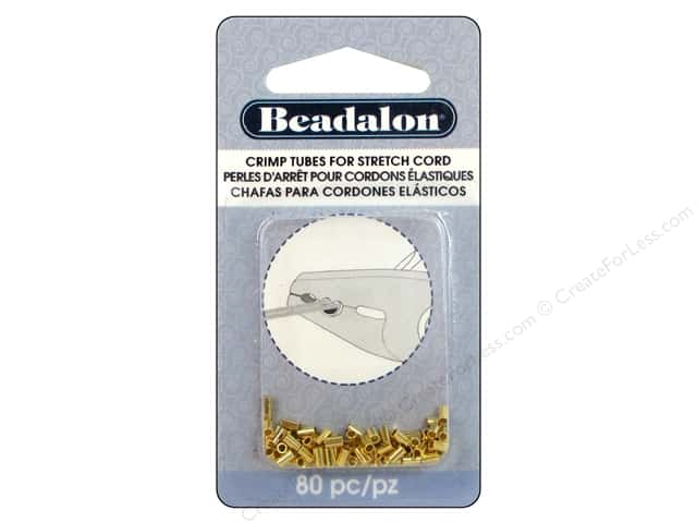 Beadalon Crimp Tubes for Stretch Cord 0.5 mm Gold 80 pc.