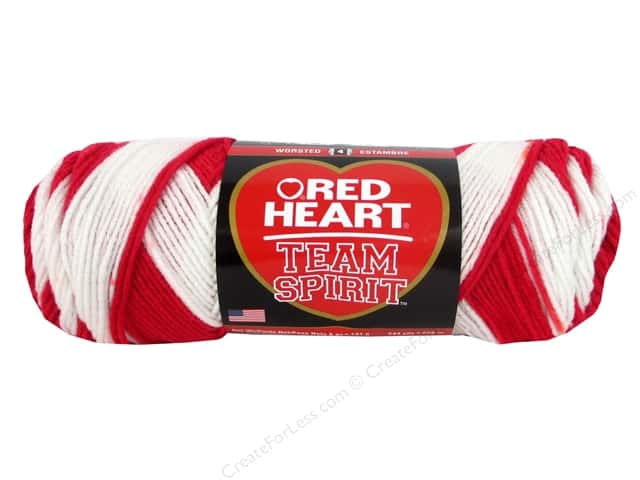 Red Heart Team Spirit Yarn #0938 Red/White