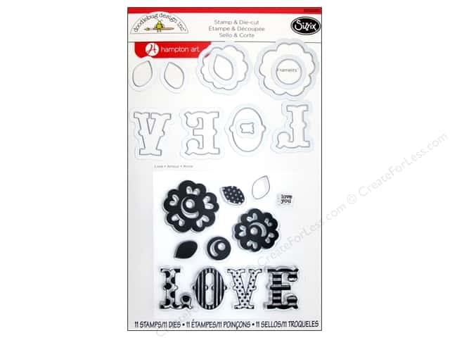 Sizzix Framelits Die Set with Stamps Love by Doodlebug