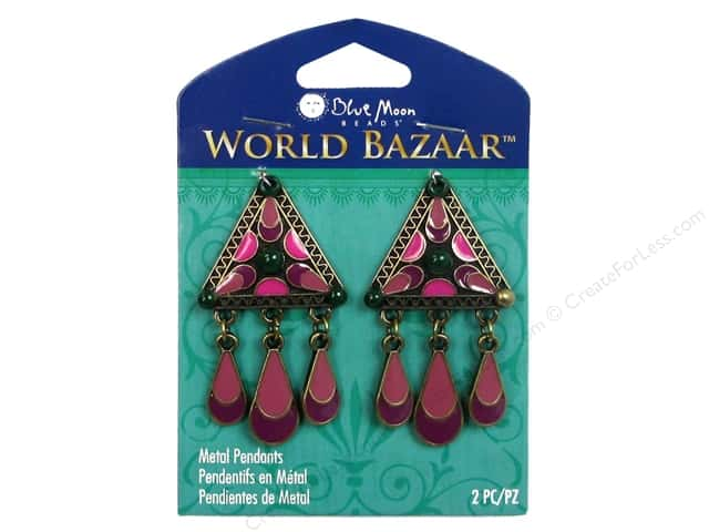 Blue Moon Beads Metal Pendant World Bazaar Oxidized Brass & Pink Enamel Triangles with Dangles 2 pc.