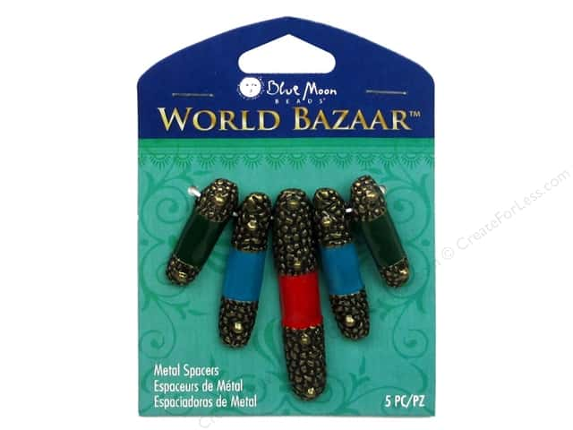 Blue Moon Beads World Bazaar Spacer Metal Enamel Tube 5 pc. Oxidized Brass