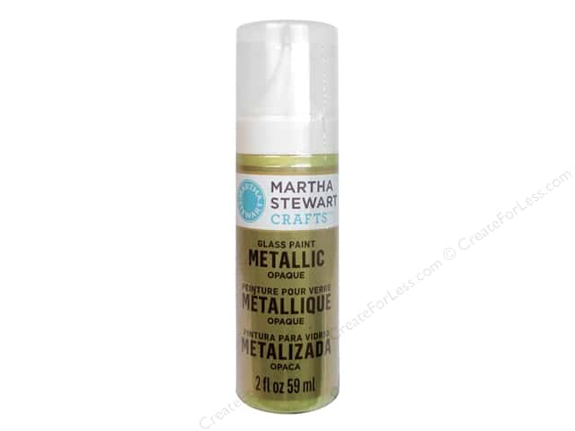 Martha Stewart Glass Paint by Plaid 2 oz. Metallic Opaque Green Gold