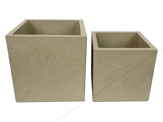 Paper Mache Box Set Open Square 2 pc. by Craft Pedlers