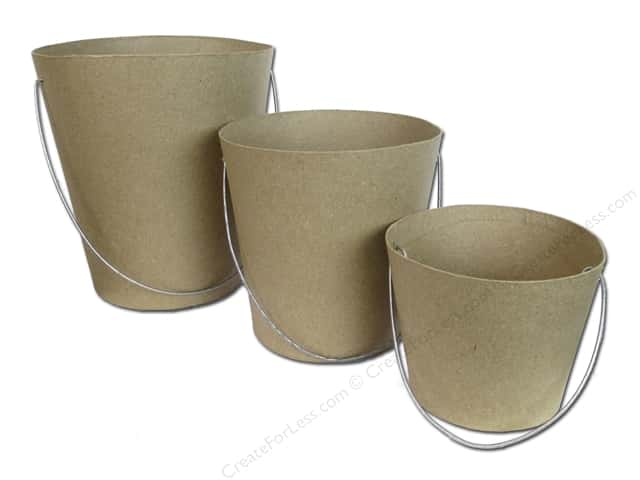 Paper Mache Garden Pots with Handle Set of 3 by Craft Pedlars