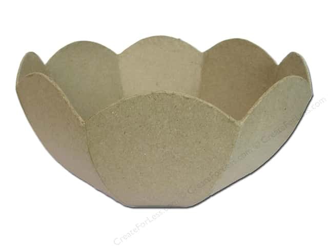 Paper Mache Bowl Scallop Rounded by Craft Pedlers