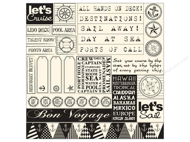 Canvas Corp 12 x 12 in. Paper Black & Ivory Sail Away Sampler (15 pieces)