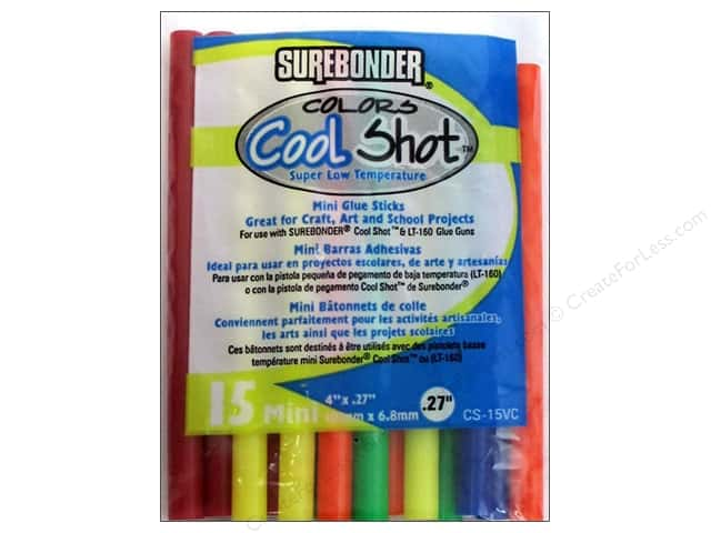 "Surebonder Glue Stick 4"" Cool Shot Colors Low Temp 15pc"