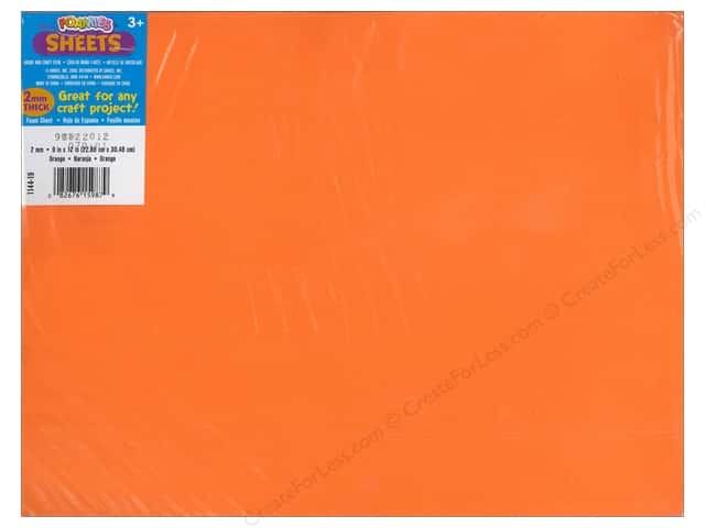 Foamies Foam Sheet 9 x 12 in. 2 mm. Orange (10 sheets)
