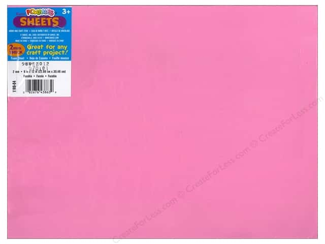 Foamies Foam Sheet 9 x 12 in. 2 mm. Fuchsia (10 sheets)