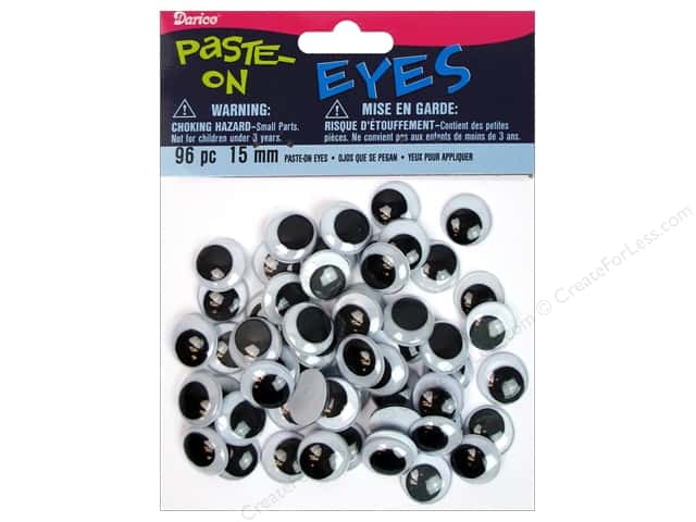 Googly Eyes by Darice Paste-On 15 mm Black 96 pc.