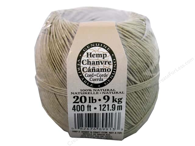 Darice Hemp Cord 20# 400 ft. Natural