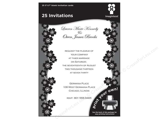 "Imaginisce Cards Black Ice Invitation Sakura 5""x 7"" 25pc"