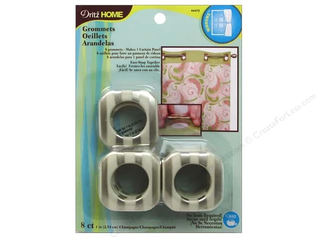 Dritz Home Curtain Grommets 1 in Square Champagne Stripe 8pc