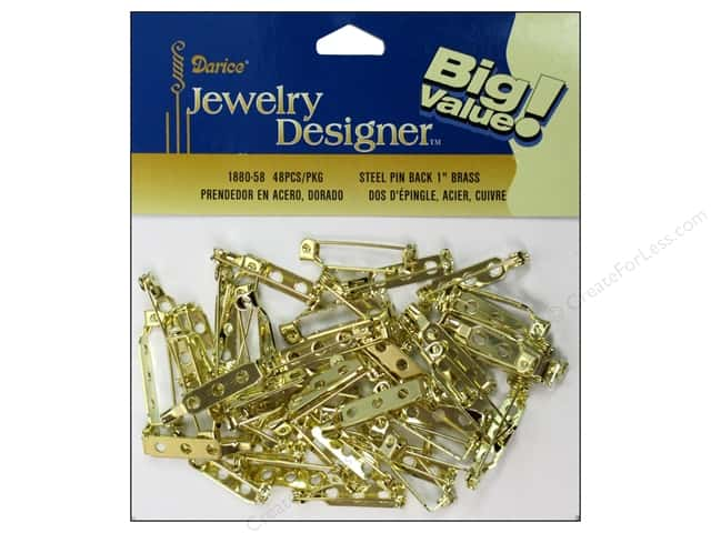 "Darice Jewelry Designer Pin Back 1"" Brass Plateed Steel 48pc"