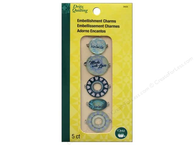 Embellishment Charms by Dritz Quilting Heart & Scroll Blue