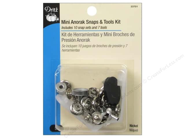 Mini Anorak Snaps & Tools Kit by Dritz Nickel 10 pc.