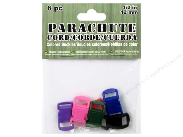 Pepperell Parachute Cord Buckle 1/2 in. Assorted 6 pc.