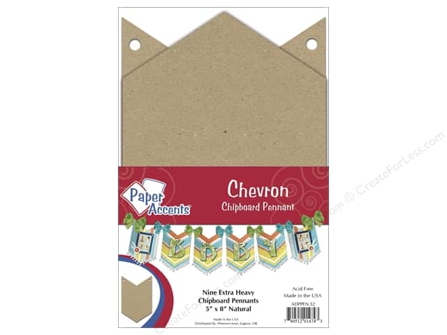 Paper Accents Chipboard Pennants 5 x 8 in. Chevron 9 pc. Kraft