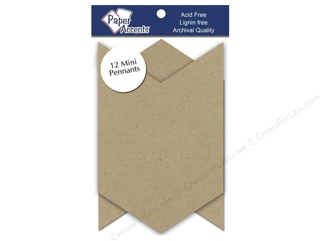 Paper Accents Chipboard Pennants  2 1/2 x 4 in. Mini Chevron 12 pc. Kraft