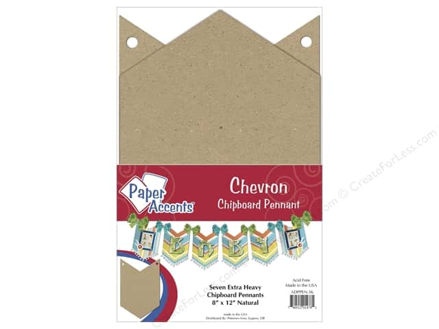 Paper Accents Chipboard Pennants  8 x 12 in. Chevron 7 pc. Kraft