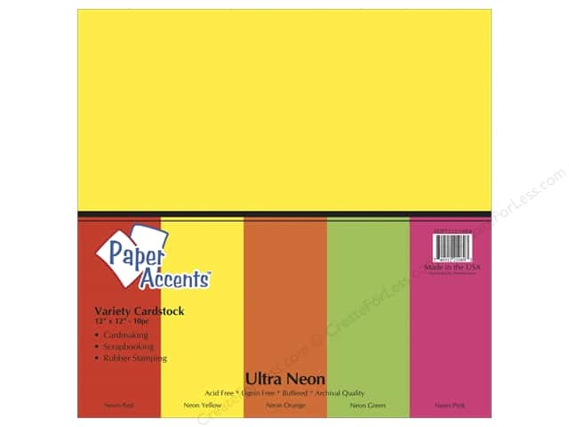 Cardstock Variety Pack 12 x 12 in. Ultra Neon 10pc by Paper Accents