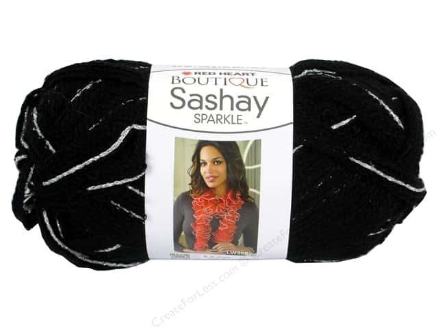 Red Heart Boutique Sashay Yarn 3.5 oz. Sparkle Noir