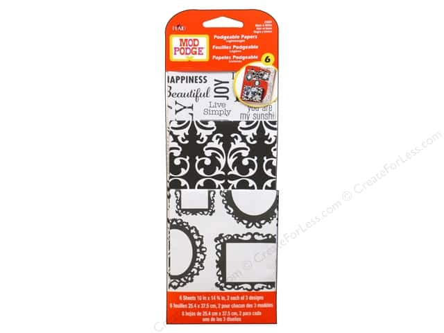 Plaid Mod Podge Podgeable Papers Damask Black/White