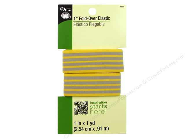 Fold-Over Elastic by Dritz 1 in. x 1 yd. Stripe Yellow/Gray