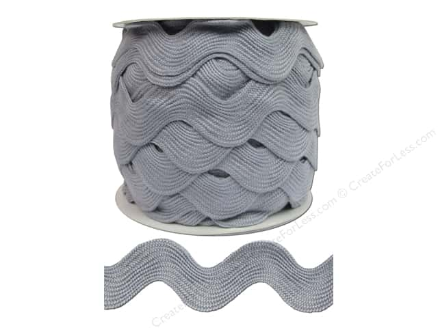 "Cheep Trims Ric Rac Jumbo 1 13/32"" Light Grey- 24yd (24 yards)"