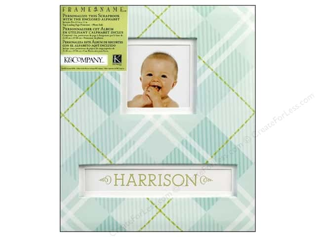 "K&Company Scrapbook Album 8.5""x 11"" Frame A Name Blue Plaid"