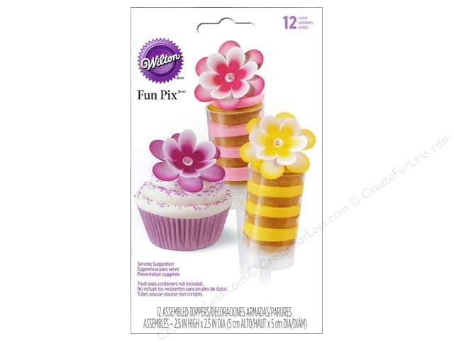 Wilton Decorations Fun Pix Topper Treat Flower Multi 12pc