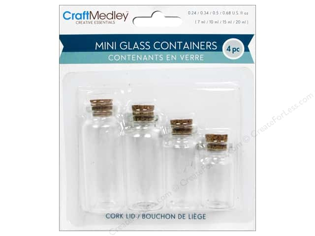 Multicraft Organizer Glass Bottles with Cork Stoppers 4pc