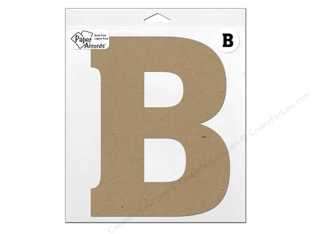 "Paper Accents Chipboard Shape Letter ""B"" 11 in. 1 pc. Kraft"