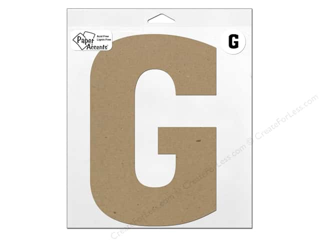 "Paper Accents Chipboard Shape Letter ""G"" 11 in. 1 pc. Kraft"