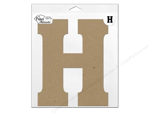 "Paper Accents Chipboard Shape Letter ""H"" 11 in. 1 pc. Kraft"