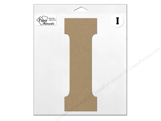 "Paper Accents Chipboard Shape Letter ""I"" 11 in. 1 pc. Kraft"