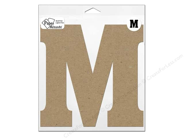 "Paper Accents Chipboard Shape Letter ""M"" 11 in. 1 pc. Kraft"