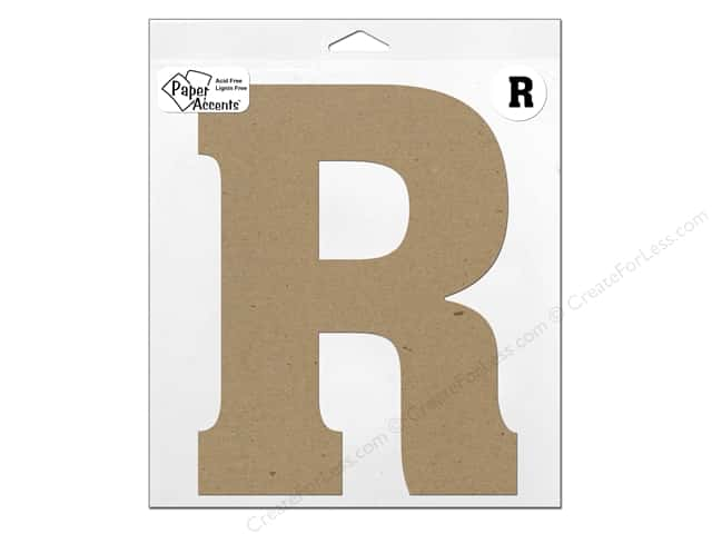 "Paper Accents Chipboard Shape Letter ""R"" 11 in. 1 pc. Kraft"