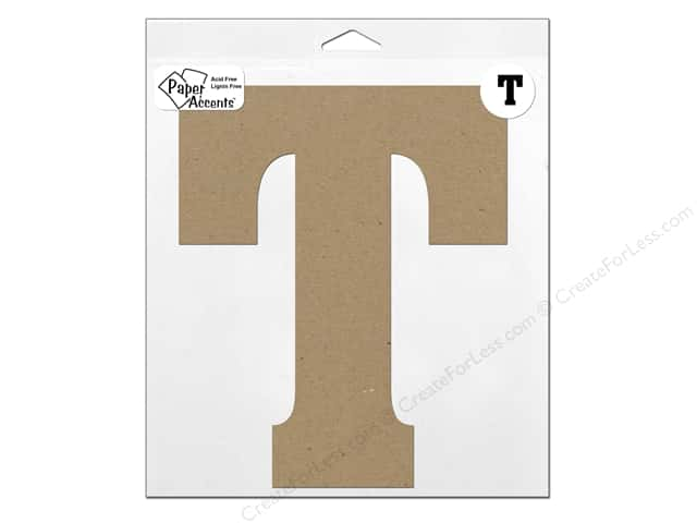 "Paper Accents Chipboard Shape Letter ""T"" 11 in. 1 pc. Kraft"