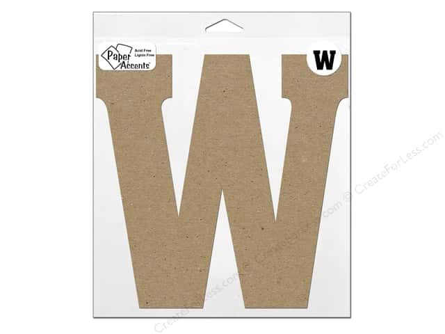 "Paper Accents Chipboard Shape Letter ""W"" 11 in. 1 pc. Kraft"