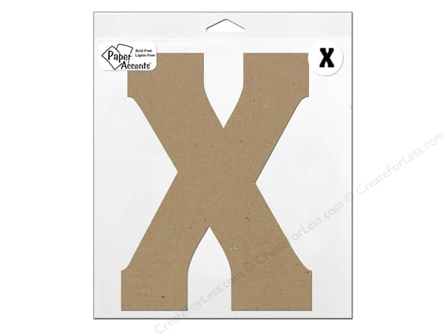 "Paper Accents Chipboard Shape Letter ""X"" 11 in. 1 pc. Kraft"