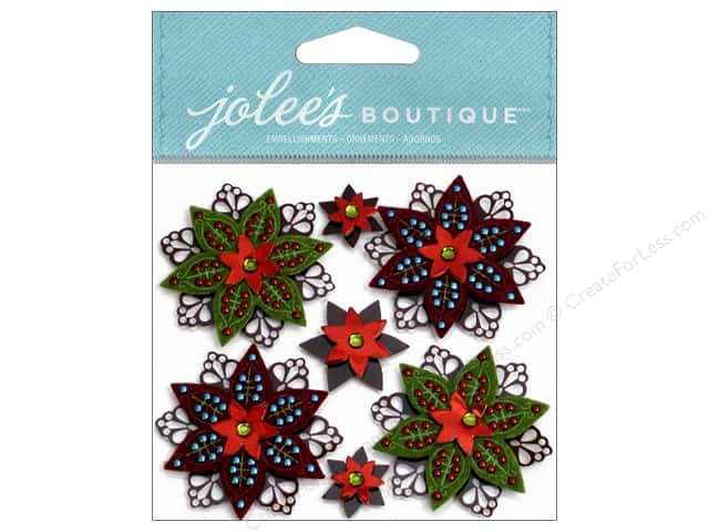 Jolee's Boutique Stickers Felted Holly Flowers